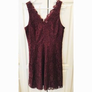 Burgundy Lace LOFT Sleeveless Dress Size 8